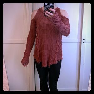 Maroon cold shoulder cotton knit sweater